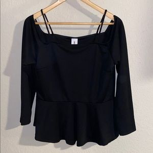 Shopleah boutique peplum blouse with long sleeves